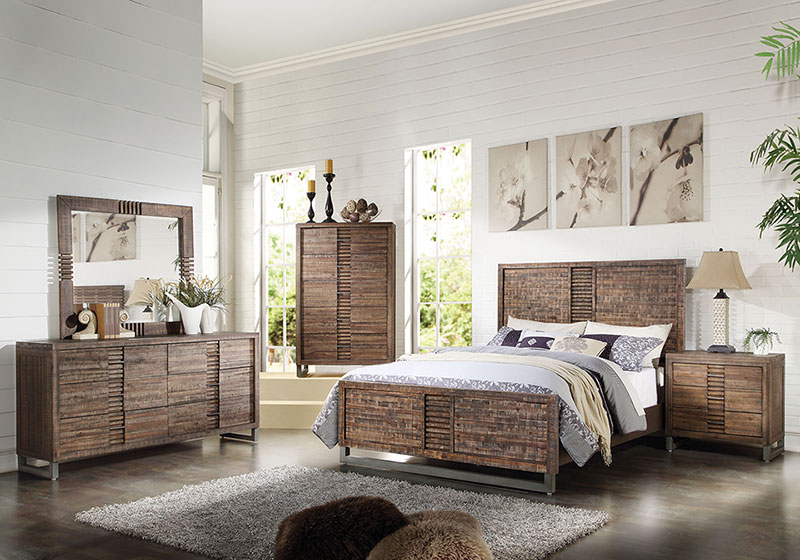 Details About Rustic Brown Oak Transitional 5 Piece Bedroom Suite W Queen Size Bed Set Iab7