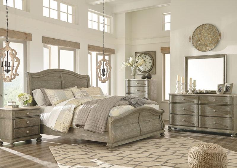 SANDERS   5pcs COTTAGE BEDROOOM SET KING BED, DRESSER, MIRROR, 2 NIGHTSTANDS