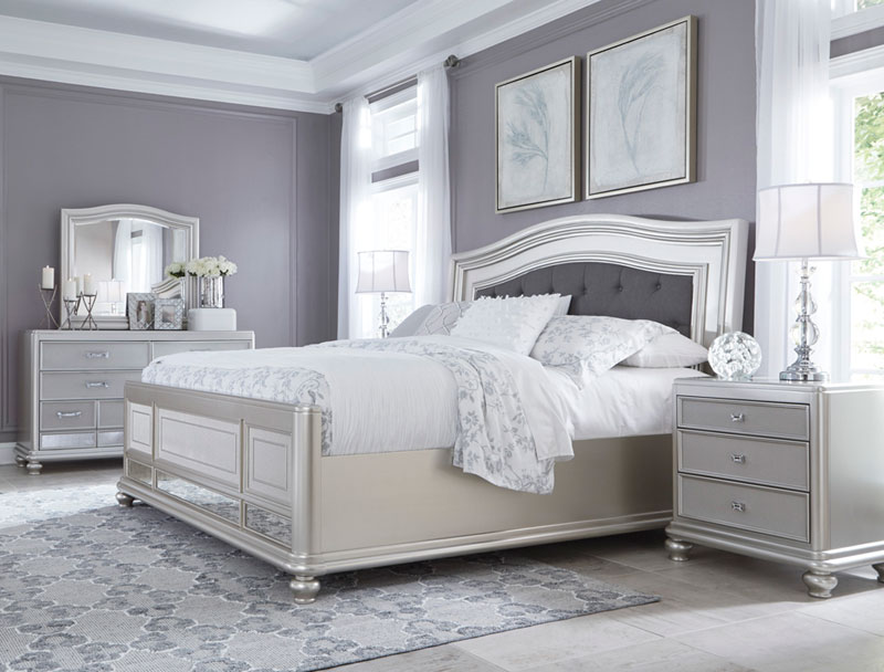 Middleton 5 piezas Conjunto de Plata Glamour Moderno Dormitorio con ...