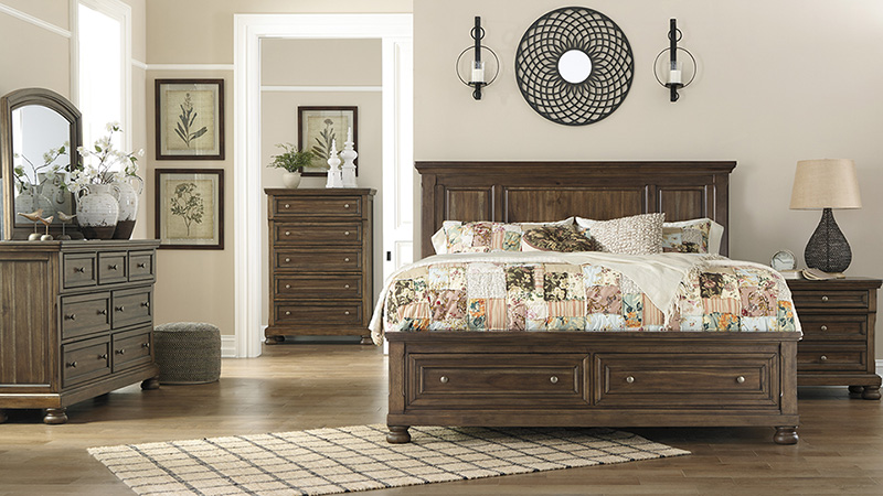 Details about Cottage Brown Finish 5 pieces Bedroom Set w/ Queen Size Panel  Storage Bed IA2D
