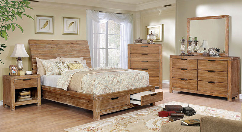 Details about Cottage Light Brown Bedroom Furniture - 5pcs Queen Sleigh  Storage Bed Set ICAW