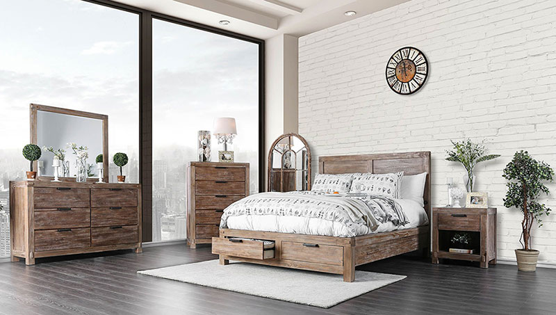 Details about NEW Rustic Cottage Brown Bedroom Furniture - 5pcs Set w/  Queen Storage Bed IDA1