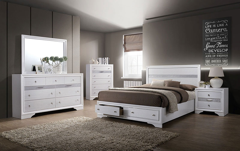 Details about DELTA Modern White Finish 5 pieces Bedroom Suite w. Queen  Panel Storage Bed Set