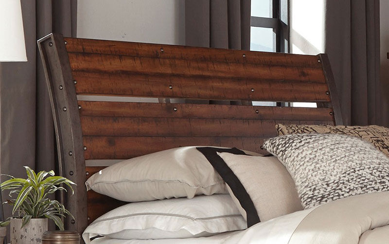 details about new industrial style rustic brown finish bedroom furniture 5pcs queen set ia61