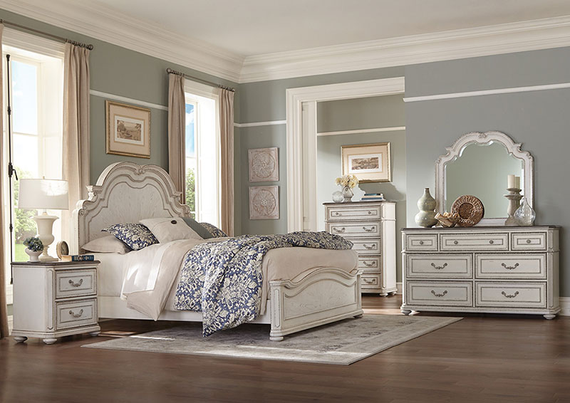New Traditional Antique White Brown 5 Piece Bedroom Set W Queen