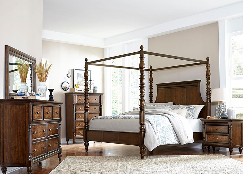 Details About New Traditional Cherry Brown Bedroom Furniture Isabella 5pcs Queen Canopy Set