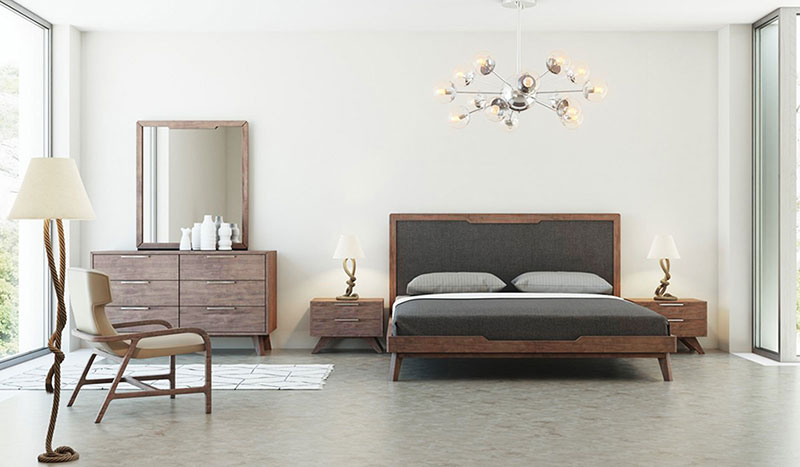 Details about Modern Walnut Brown 5 pieces Bedroom Set w/ Queen Gray Fabric  Platform Bed IVAH