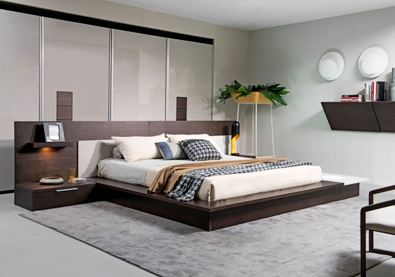 Details about NEW 3 piece Contemporary Brown Bedroom Set w/ Lighted King  Size Platform Bed VAR