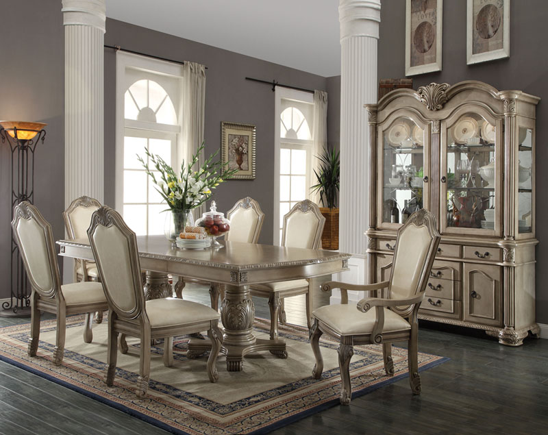 Details About Old World Antique White 7pcs Dining Room Set NEW Rectangular  Table U0026 Chairs IACA