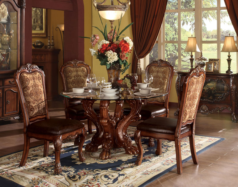 STARLINE   5pcs OLD WORLD DINING SET ROUND GLASS TOP TABLE U0026 4 SIDE CHAIRS