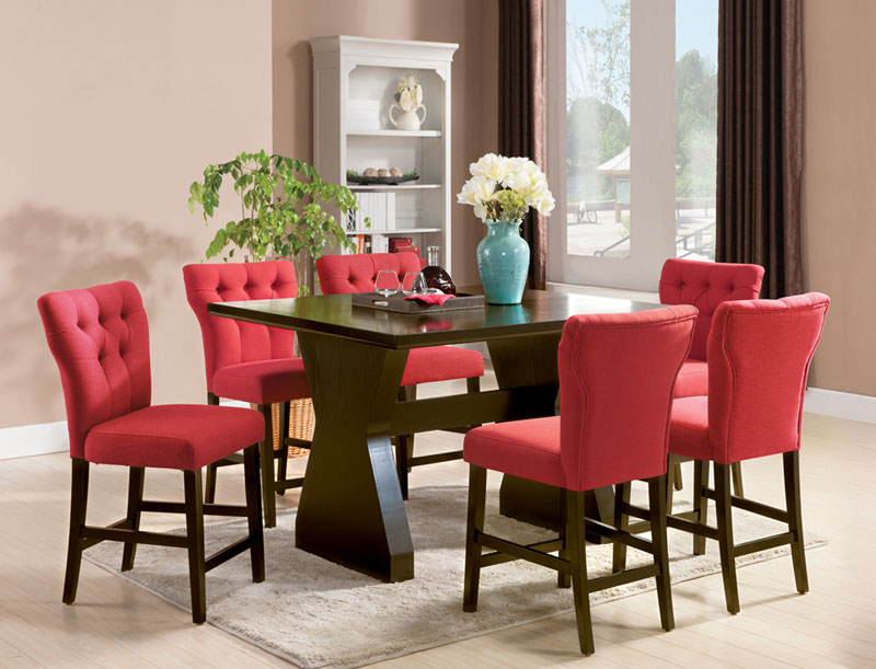 Details About Imola 7 Piece Modern Counter Height Dining Room Set Rectangular Table Red Chairs