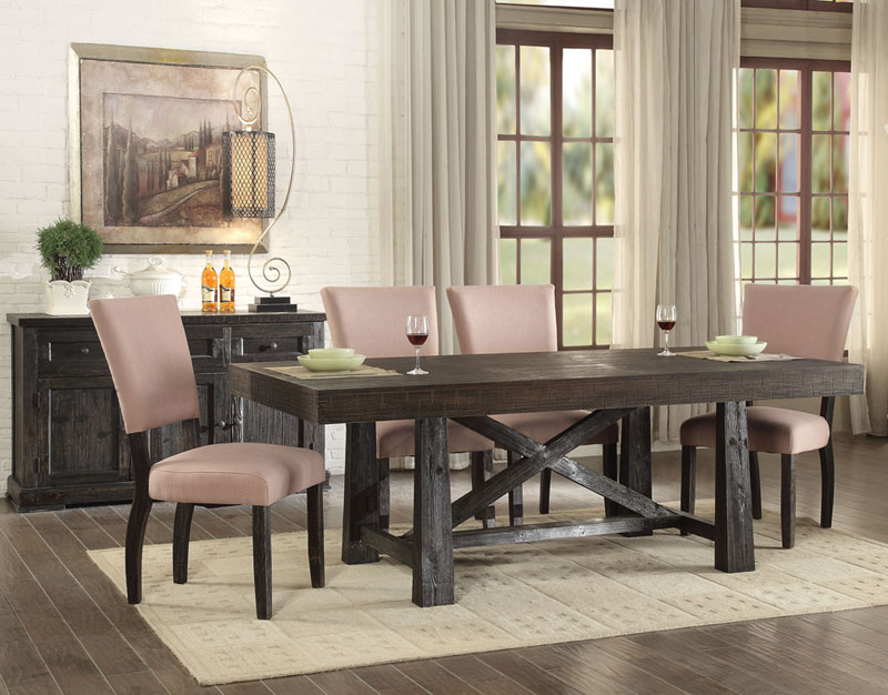 Details about Cottage Design Brown Oak 7 pieces Dining Room Set Rectangular  Table Chairs IACS