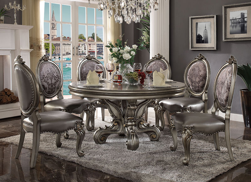 New Palazzo 7 Pieces Platinum Dining Room Furniture 60 Round