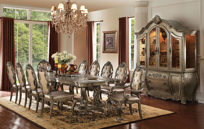 Formal Old World Style Dining Room Furniture Table 2 Arm Chairs 8 Side
