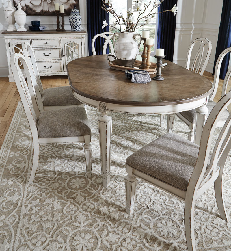 White Dining Room Table Set: REGAL 7 Piece Traditional Antique White & Brown Oval