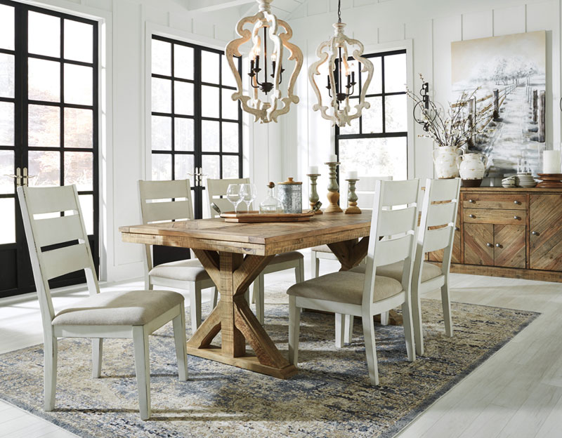 Details about Cottage Design Dining Room 7pcs Rectangular Brown Table &  White Chairs Set IC0K