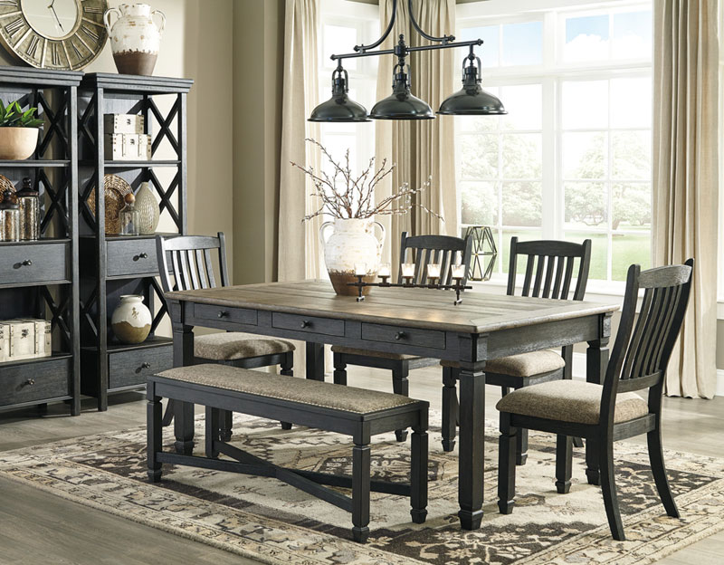 Details about Rustic Two-Tones Black & Brown 6pcs Dining Room Rectangular  Table Chairs Set C0O
