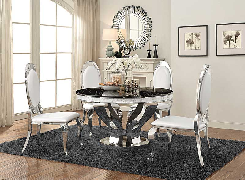 Modern Dining Room Furniture 5 Piece Round Mirror Table White Chairs Set Ic73 82888058922 Ebay