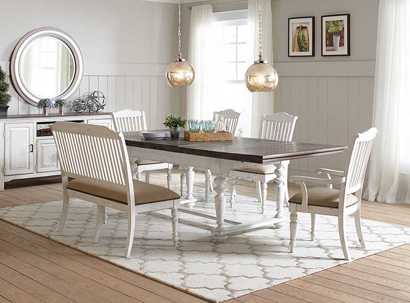 Farmhouse Style 6pcs Dining Room Set Rectangular Table Banquette Chairs Ic7g 733281951500 Ebay