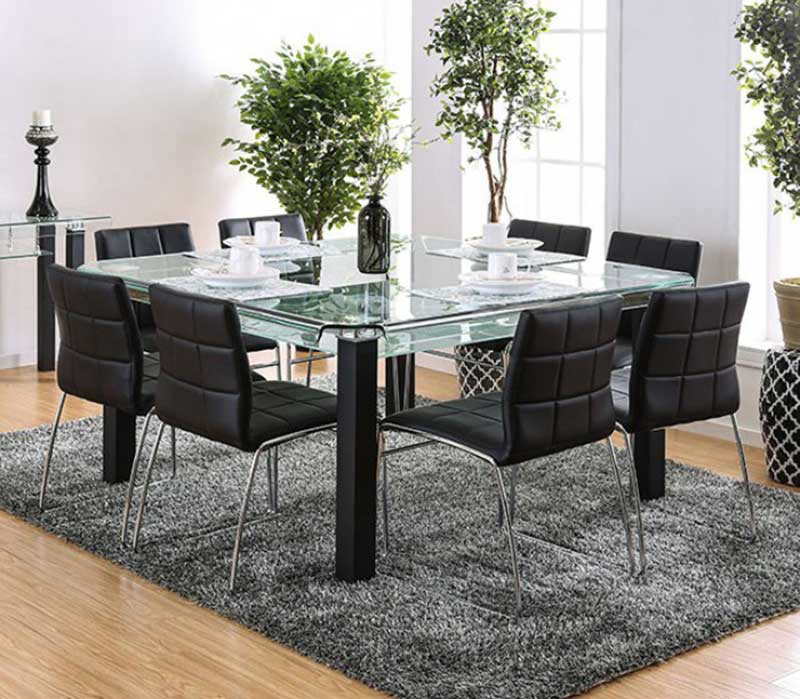 New Modern Square Glass Top Table Black Chairs 9 Pieces Dining Room Set Ice8 Ebay