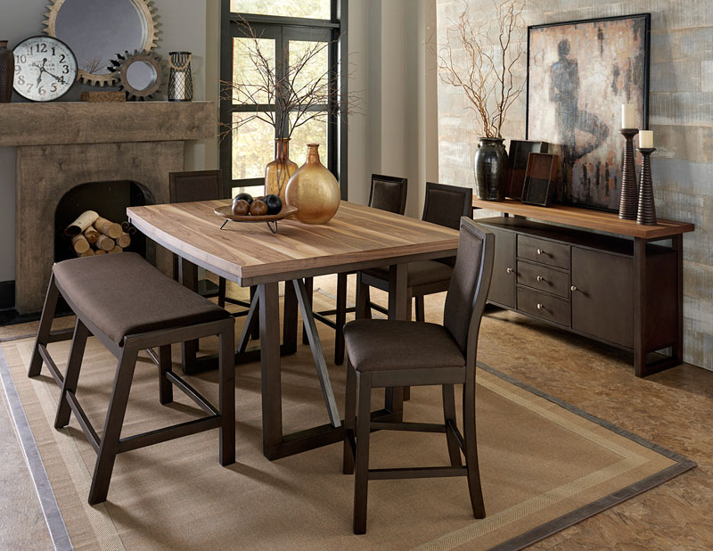 Cool Details About Modern Desgin Brown Counter Height 6 Piece Dining Room Set Table Bench Chair C4B Creativecarmelina Interior Chair Design Creativecarmelinacom
