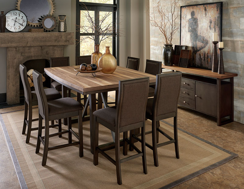 Details about Modern Two-Tone Brown Finish 9pcs Counter Height Dining Room  Set Table Chair C4B