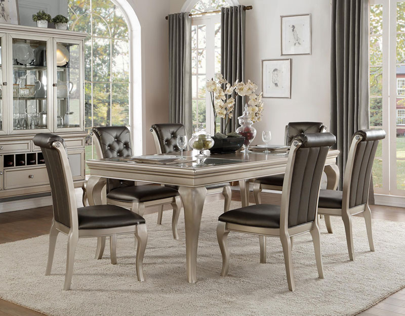Details About Bwood 7pc Transitional Silver Taupe Dining Room Rectangular Table Chairs Set