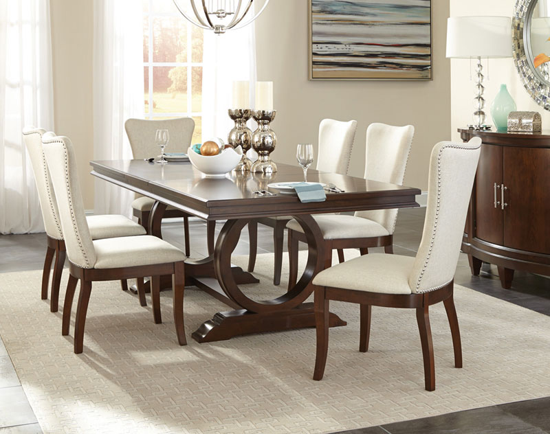 Details about Art Deco Design Cherry Brown 7pcs Dining Room Rectangular  Table & Chair Set IC5A