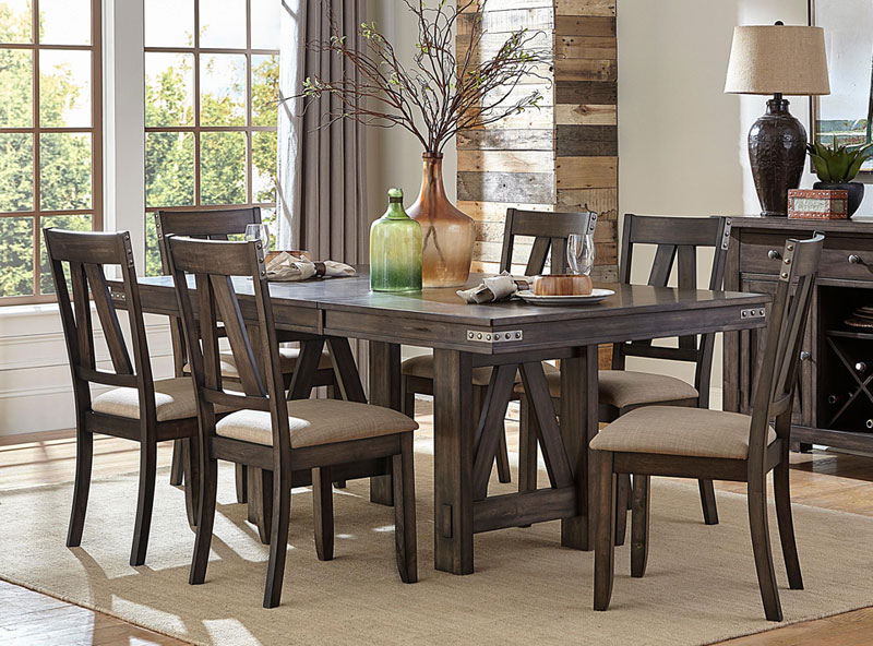 Details about Rustic Industrial Brown Dining Room Set 7 pieces Rectangular  Table & Chairs IC6P