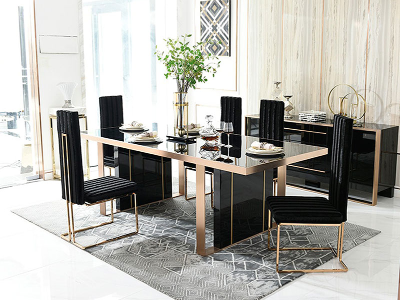 Details about NEW Modern Dining Room Furniture - 7pcs Black Rectangular  Table & Chairs Set NV2