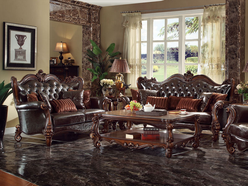 Details about Old World Living Room Couch Set Wood Trim Brown Faux Leather  Sofa Loveseat IGA2