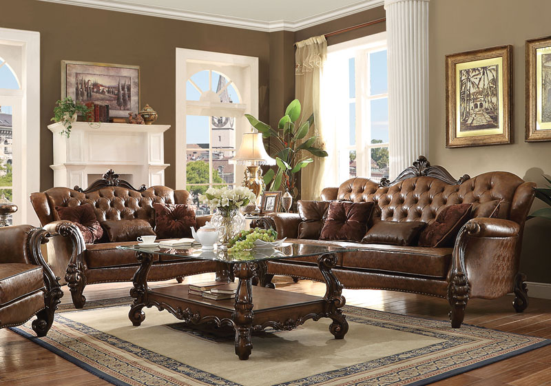 Fabulous Details About Old World Design Living Room Couch Set New Brown Faux Leather Sofa Loveseat Iga4 Pdpeps Interior Chair Design Pdpepsorg