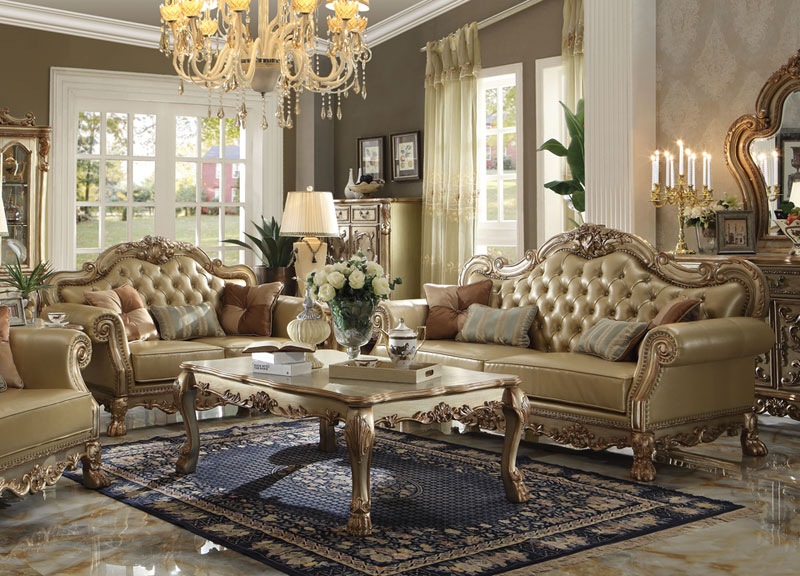Marcella Old World Living Room Couch Set Gold Ivory Faux Leather