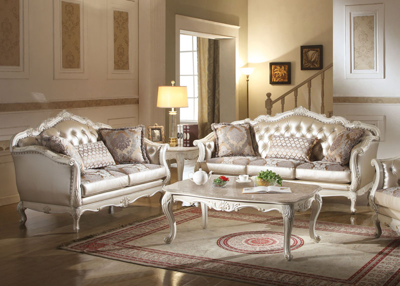 Details about Traditional Living Room Set - Wood Trim ROSE GOLD Faux  Leather Sofa Loveseat GAH