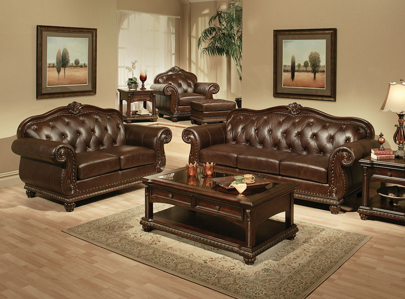 Details about NEW Living Room 4 piece Couch Set BROWN LEATHER Sofa Loveseat  Chair Ottoman IGAK