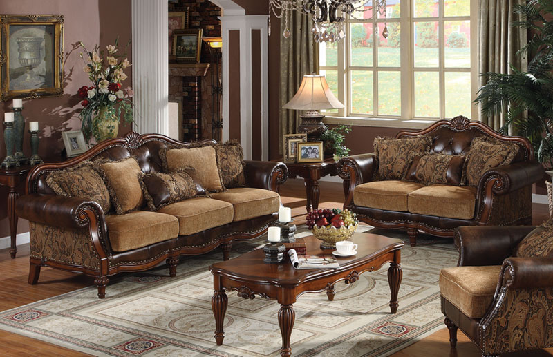 BLANCHE Traditional Living Room Set Brown Faux Leather & Chenille ...