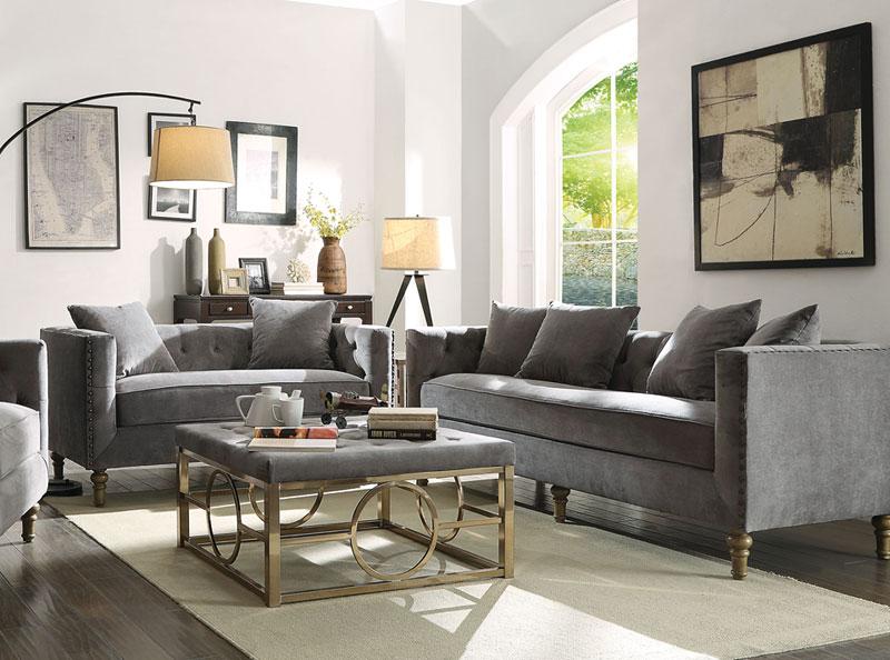 New Syracuse Mid Century Modern Living Room Set Gray Velvet Sofa