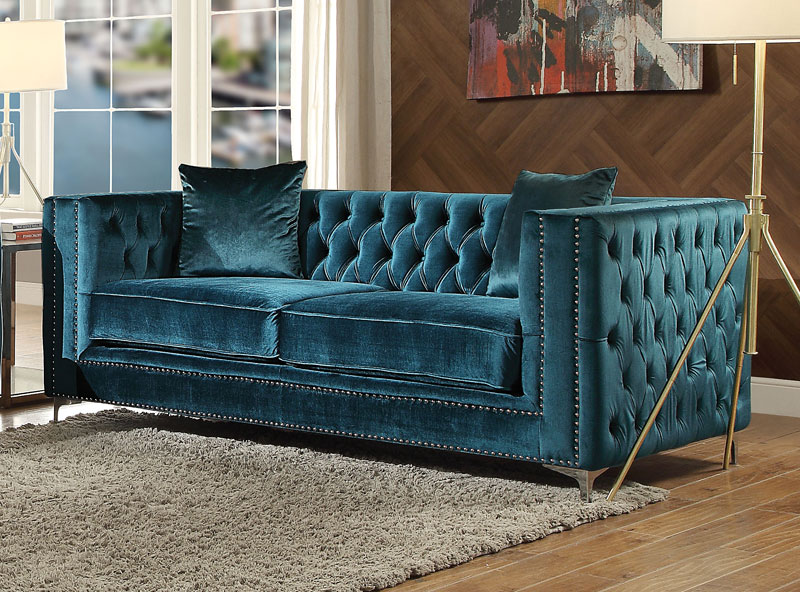 Tremendous Details About New Mid Century Modern Living Room 2 Piece Dark Teal Velvet Sofa Couch Set Igaz Gmtry Best Dining Table And Chair Ideas Images Gmtryco