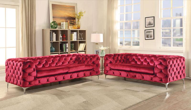 Shirley Mid Century Modern Living Room Couch Set New Red Velvet Sofa