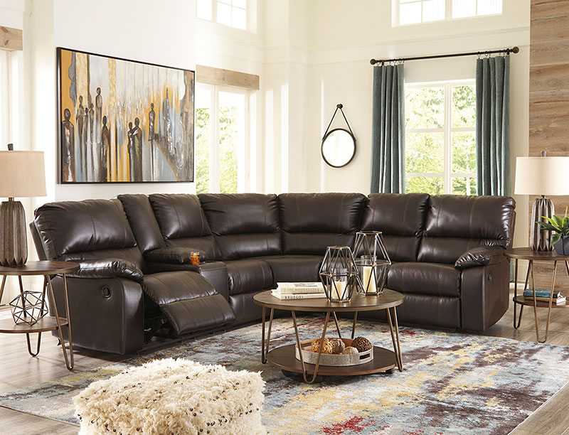 Details about Motion Sectional Living Room Faux Leather Reclining Sofa Set  w. Power Option F0A