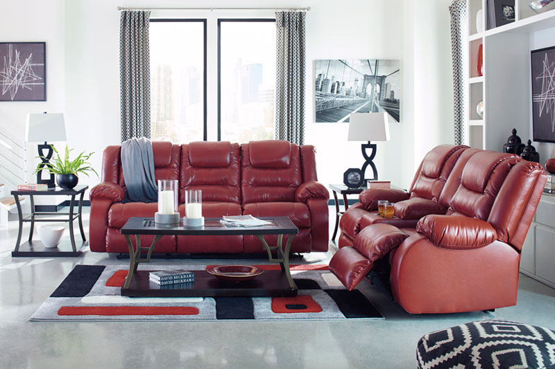 Details about Modern Motion Living Room Set Reclining Red Faux Leather Sofa  Couch Loveseat F0K