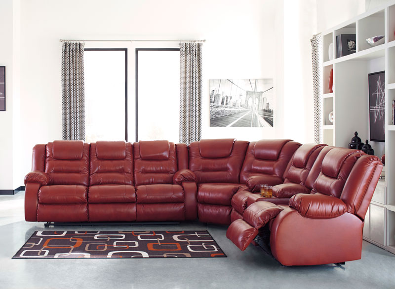 Details about Modern Sectional Living Room Red Faux Leather Recliner Sofa  Set Furniture IF0K