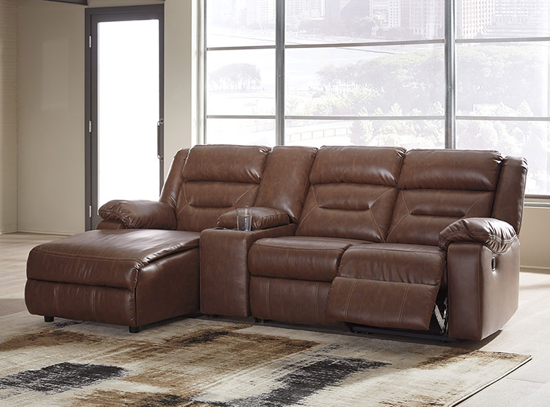 Details about NEW Living Room 4pcs Sectional Brown Faux Leather Reclining  Sofa Chaise Set IF15