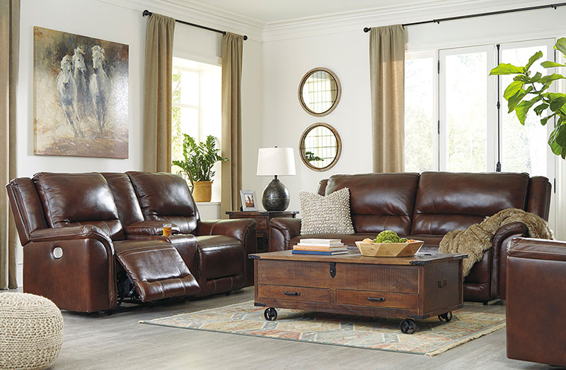 Details about Modern Living Room Furniture Brown Leather Power Reclining 2  piece Sofa Set IF1D