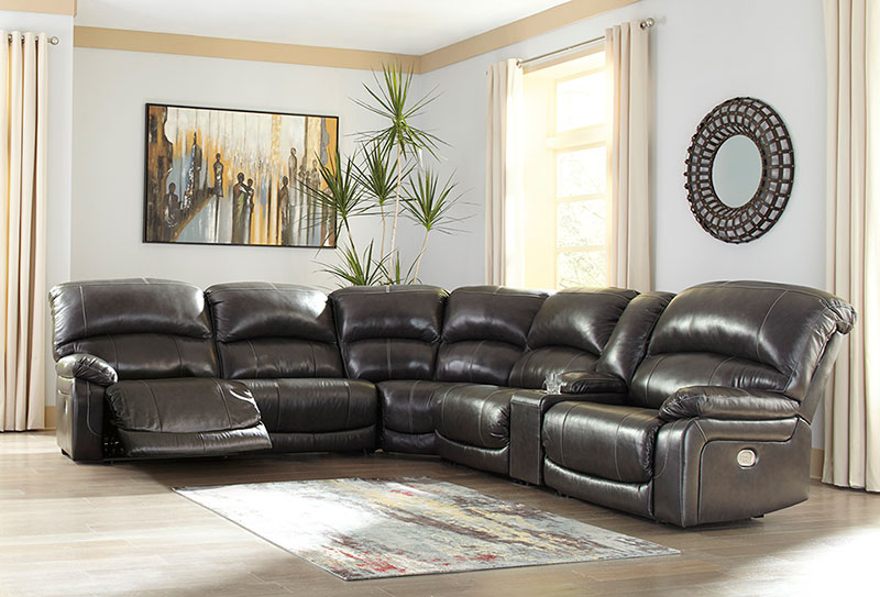 Details about Modern Large Living Room Sectional - Gray Leather Power  Reclining Sofa Set IF1K