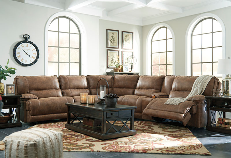 New Riviera 6pcs Sectional Living Room Brown Microfiber Power
