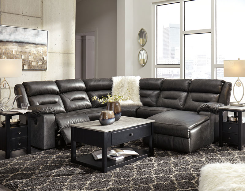 Details about NEW Living Room 5pcs Sectional Gray Faux Leather Reclining  Sofa Chaise Set IF2G