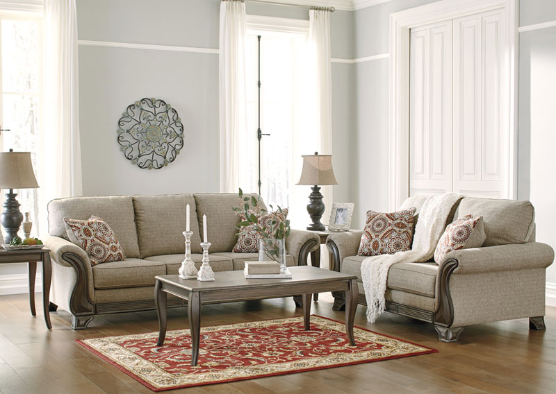 Montego Traditional Living Room Couch Set Brown Wood Trim