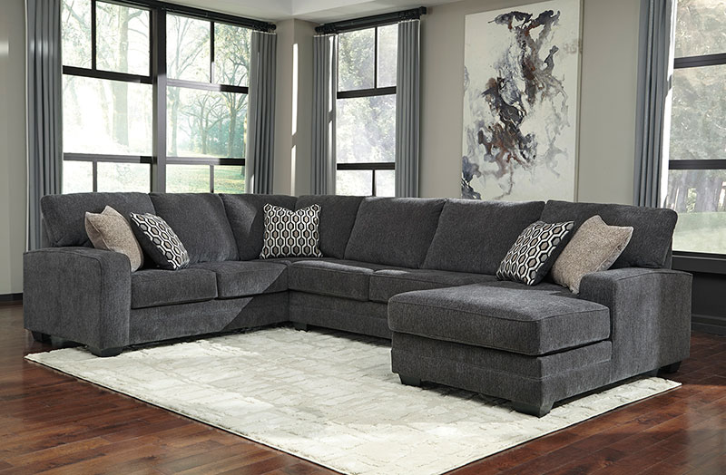 Details about NEW Modern Sectional Living Room Dark Gray Chenille Sofa  Couch Chaise Set IG0Z