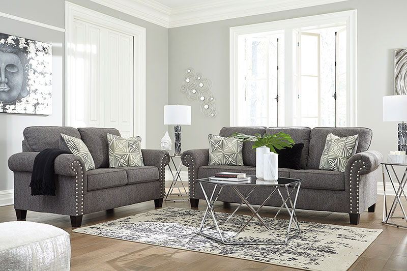 Details about Modern Living Room Furniture - Gray Fabric 2 piece Sofa Couch  Loveseat Set IG1G